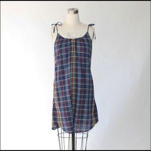 Madewell swing plaid dress with pockets Sz S